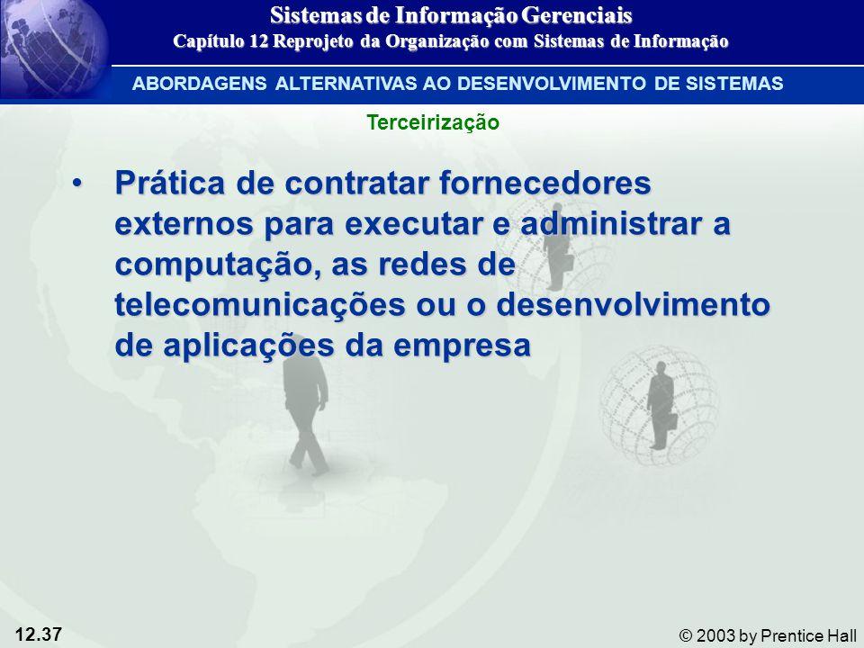 12.37 © 2003 by Prentice Hall Prática de contratar fornecedores externos para executar e administrar a computação, as redes de telecomunicações ou o d