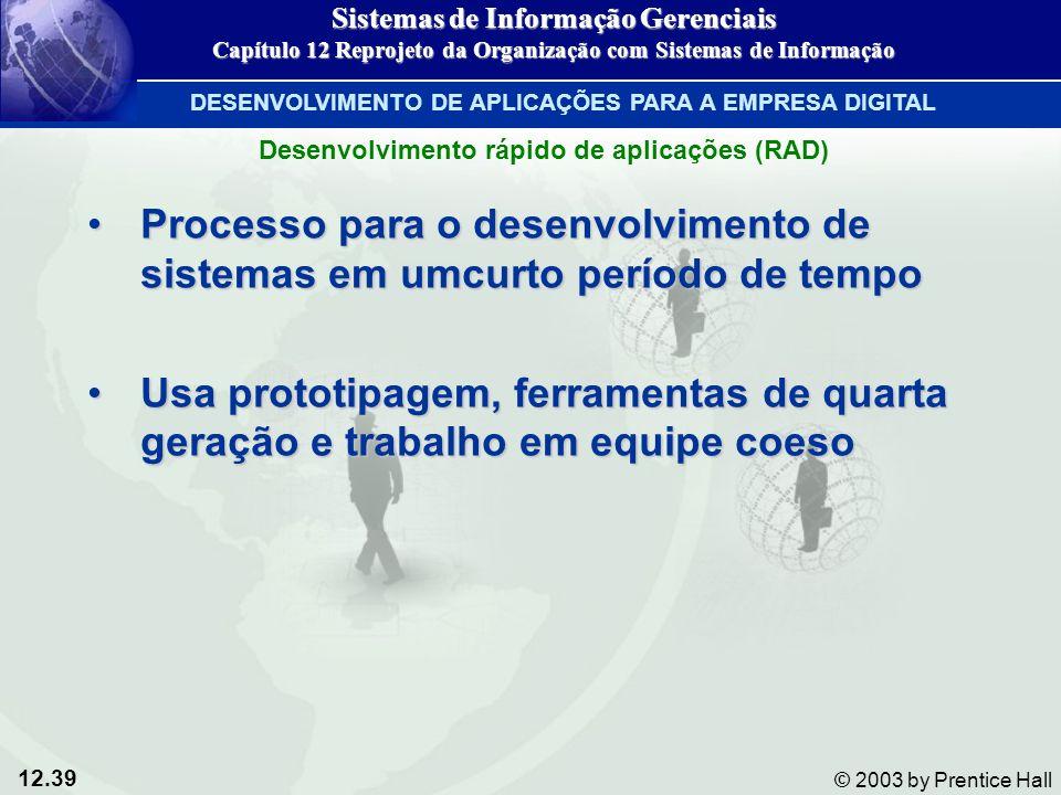 12.39 © 2003 by Prentice Hall Processo para o desenvolvimento de sistemas em umcurto período de tempoProcesso para o desenvolvimento de sistemas em um