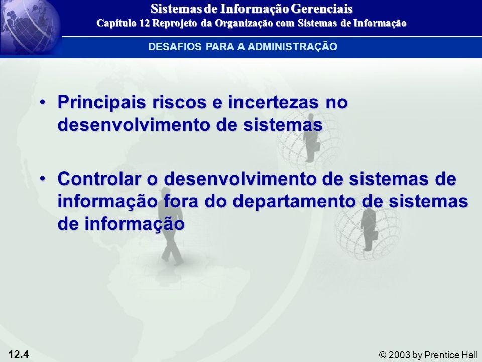12.4 © 2003 by Prentice Hall Principais riscos e incertezas no desenvolvimento de sistemasPrincipais riscos e incertezas no desenvolvimento de sistema