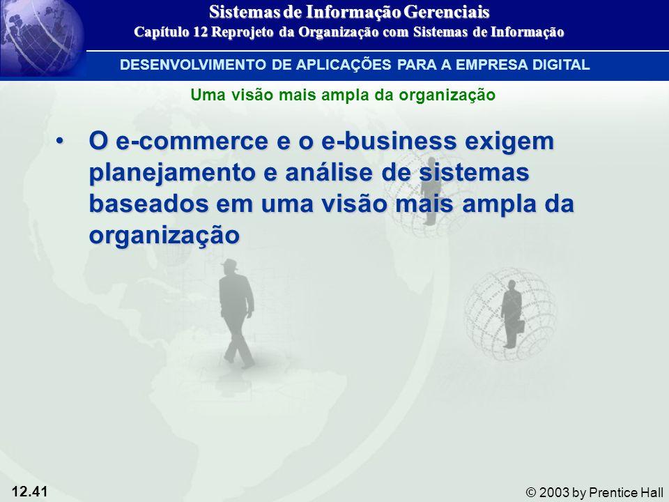 12.41 © 2003 by Prentice Hall O e-commerce e o e-business exigem planejamento e análise de sistemas baseados em uma visão mais ampla da organizaçãoO e