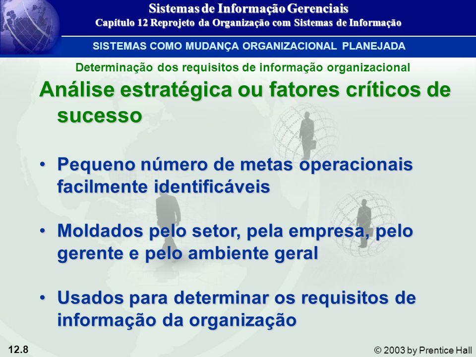 12.8 © 2003 by Prentice Hall Análise estratégica ou fatores críticos de sucesso Pequeno número de metas operacionais facilmente identificáveisPequeno