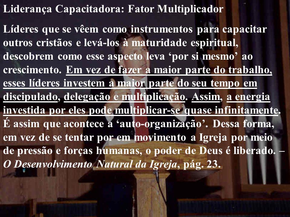 Liderança Capacitadora: Fator Multiplicador Líderes que se vêem como instrumentos para capacitar outros cristãos e levá-los à maturidade espiritual, d