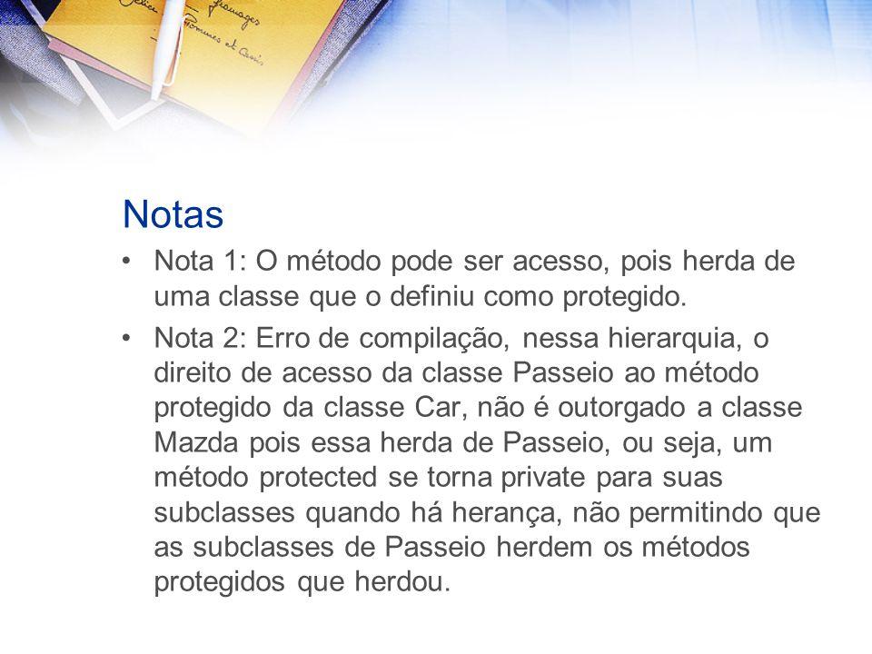 Notas Nota 1: O método pode ser acesso, pois herda de uma classe que o definiu como protegido.