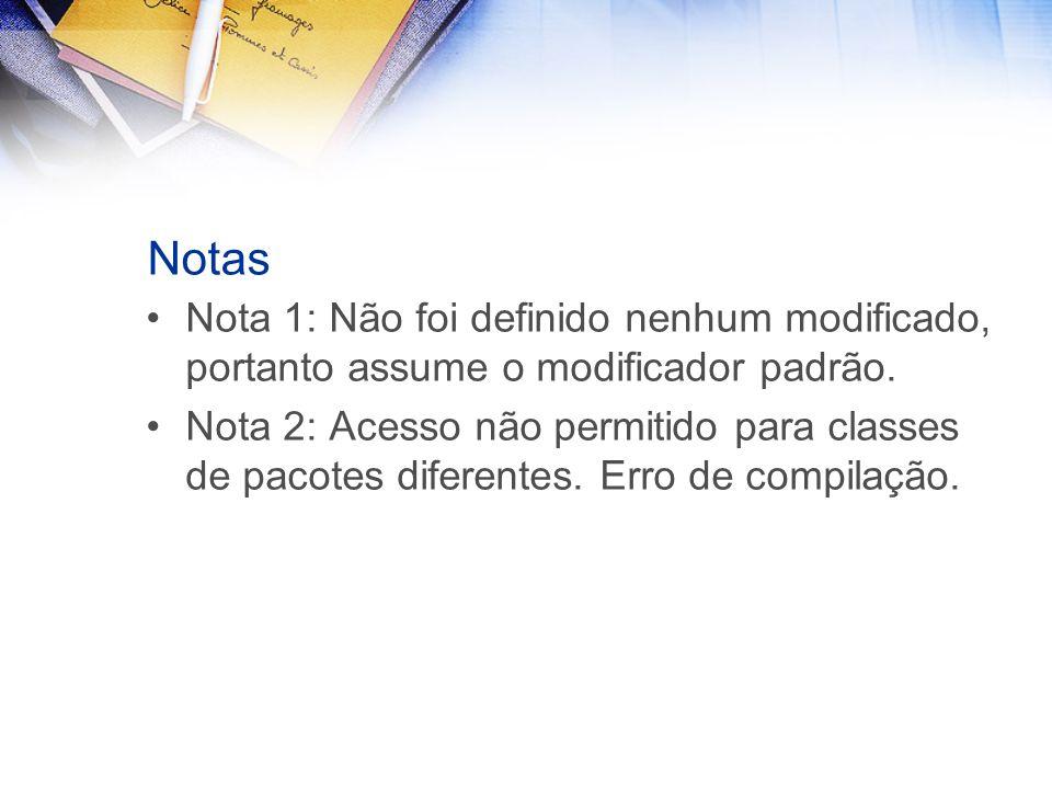 Notas Nota 1: Não foi definido nenhum modificado, portanto assume o modificador padrão.
