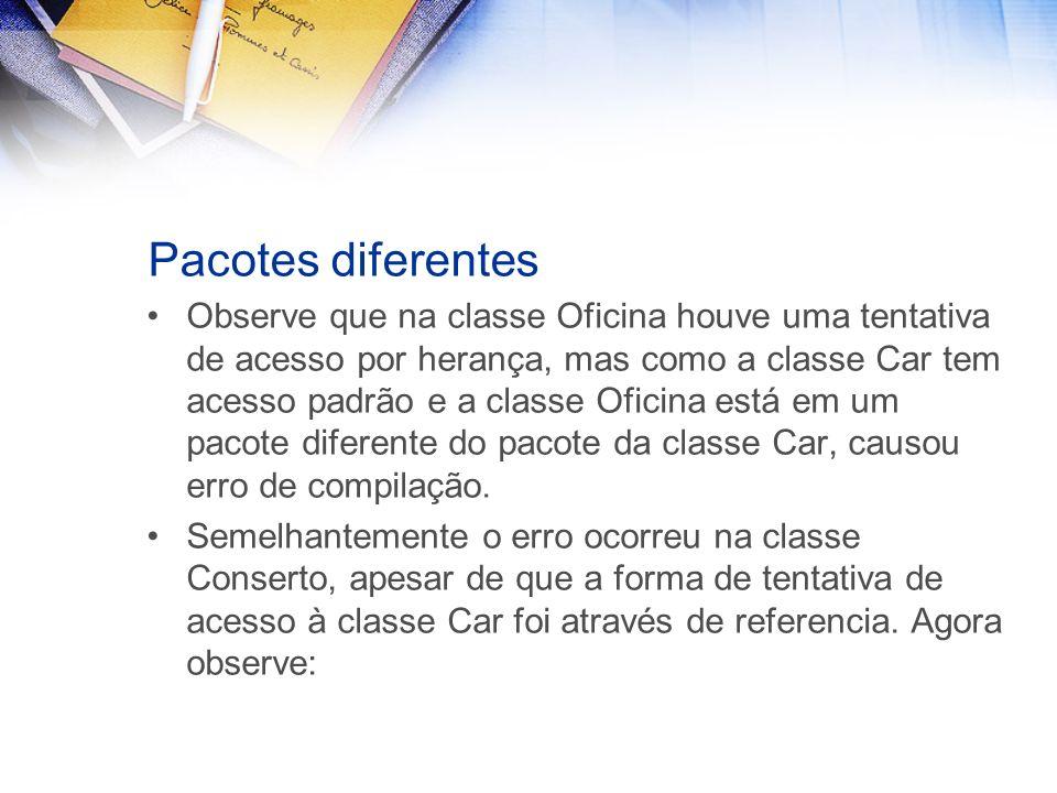 Pacotes diferentes Observe que na classe Oficina houve uma tentativa de acesso por herança, mas como a classe Car tem acesso padrão e a classe Oficina está em um pacote diferente do pacote da classe Car, causou erro de compilação.