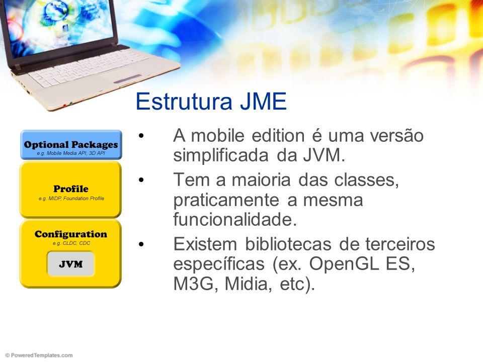 Estrutura JME A mobile edition é uma versão simplificada da JVM.