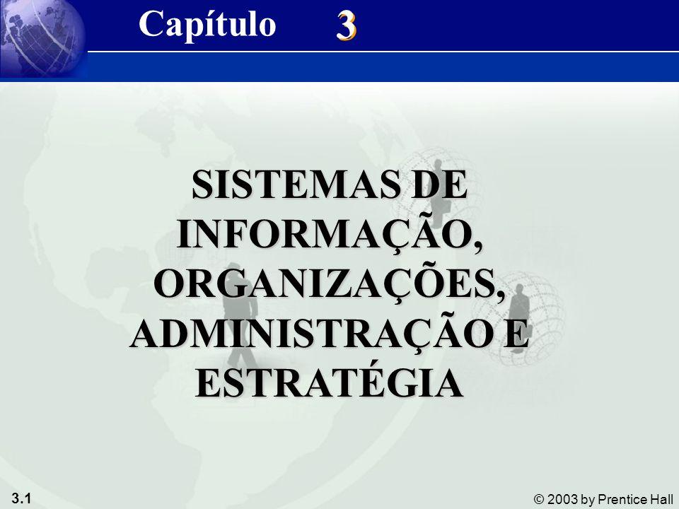 3.1 © 2003 by Prentice Hall 3 3 SISTEMAS DE INFORMAÇÃO, ORGANIZAÇÕES, ADMINISTRAÇÃO E ESTRATÉGIA Capítulo