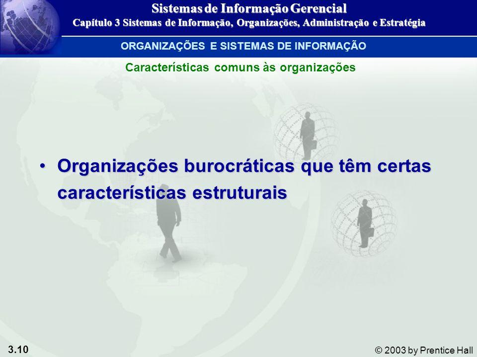 3.10 © 2003 by Prentice Hall Organizações burocráticas que têm certas características estruturaisOrganizações burocráticas que têm certas característi