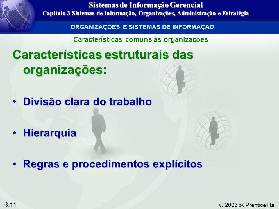 3.11 © 2003 by Prentice Hall Características estruturais das organizações: Divisão clara do trabalhoDivisão clara do trabalho HierarquiaHierarquia Reg