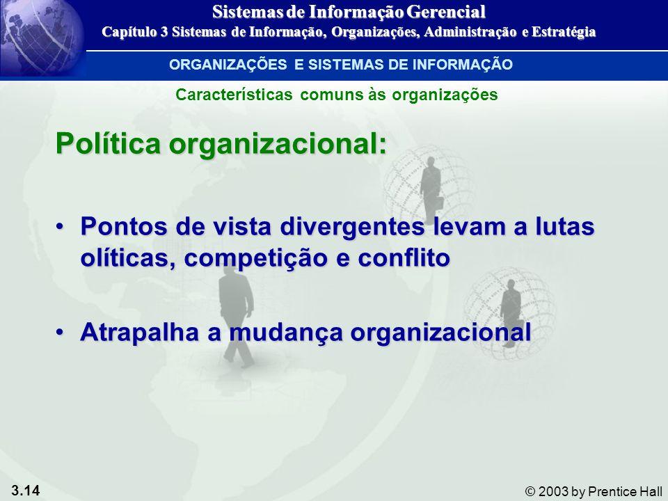 3.14 © 2003 by Prentice Hall Política organizacional: Pontos de vista divergentes levam a lutas olíticas, competição e conflitoPontos de vista diverge