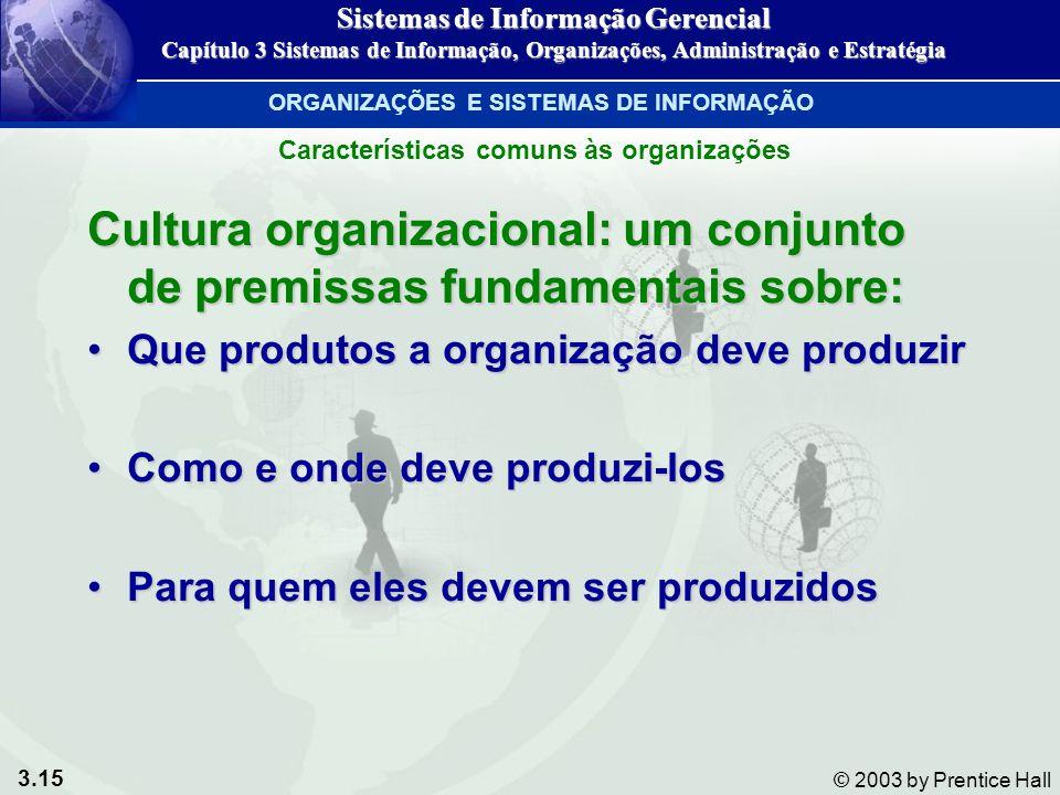 3.15 © 2003 by Prentice Hall Cultura organizacional: um conjunto de premissas fundamentais sobre: Que produtos a organização deve produzirQue produtos