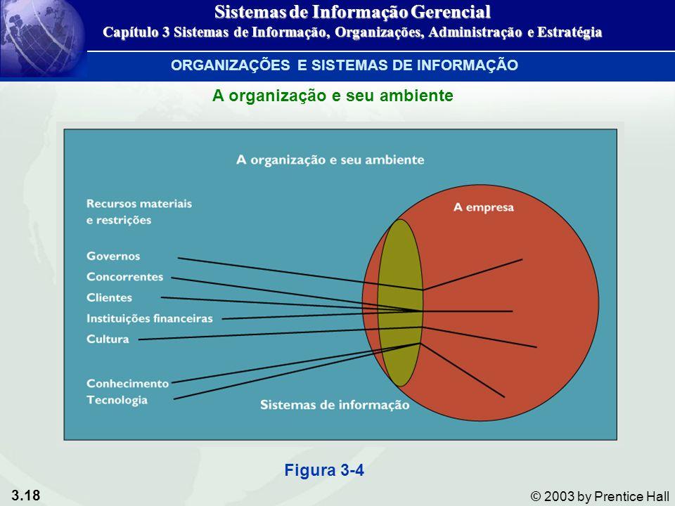 3.18 © 2003 by Prentice Hall Figura 3-4 A organização e seu ambiente ORGANIZAÇÕES E SISTEMAS DE INFORMAÇÃO Sistemas de Informação Gerencial Capítulo 3