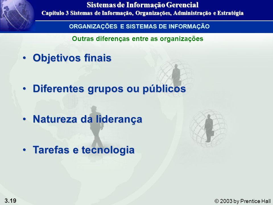 3.19 © 2003 by Prentice Hall Objetivos finaisObjetivos finais Diferentes grupos ou públicosDiferentes grupos ou públicos Natureza da liderançaNatureza