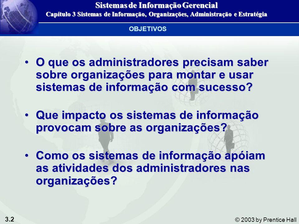 3.2 © 2003 by Prentice Hall O que os administradores precisam saber sobre organizações para montar e usar sistemas de informação com sucesso?O que os