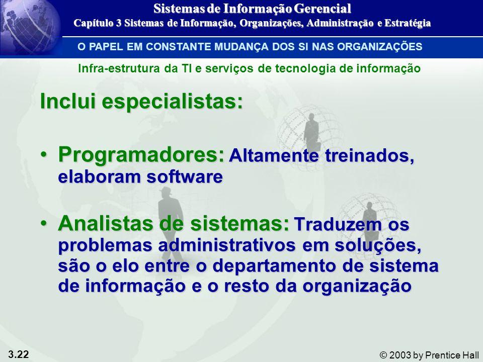 3.22 © 2003 by Prentice Hall Inclui especialistas: Programadores: Altamente treinados, elaboram softwareProgramadores: Altamente treinados, elaboram s