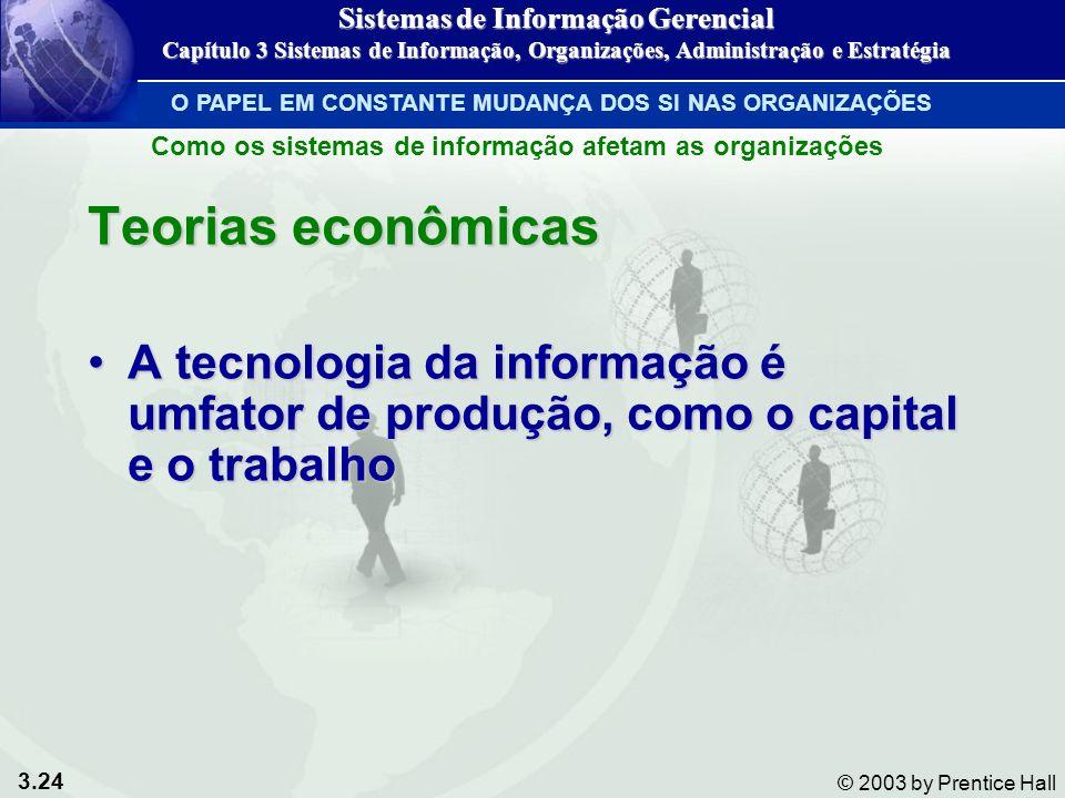 3.24 © 2003 by Prentice Hall Teorias econômicas A tecnologia da informação é umfator de produção, como o capital e o trabalhoA tecnologia da informaçã