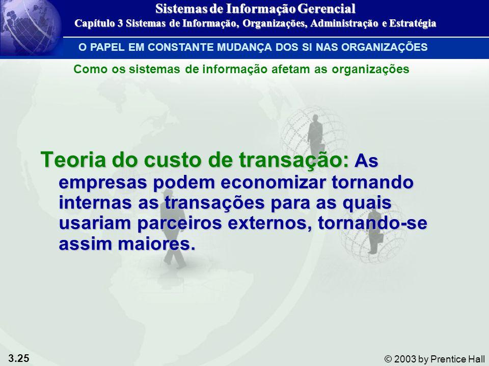 3.25 © 2003 by Prentice Hall Teoria do custo de transação: As empresas podem economizar tornando internas as transações para as quais usariam parceiro