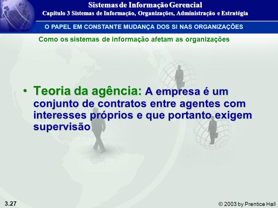 3.27 © 2003 by Prentice Hall Teoria da agência: A empresa é um conjunto de contratos entre agentes com interesses próprios e que portanto exigem super