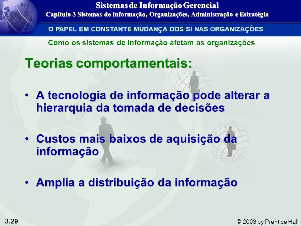 3.29 © 2003 by Prentice Hall Teorias comportamentais: A tecnologia de informação pode alterar a hierarquia da tomada de decisõesA tecnologia de inform