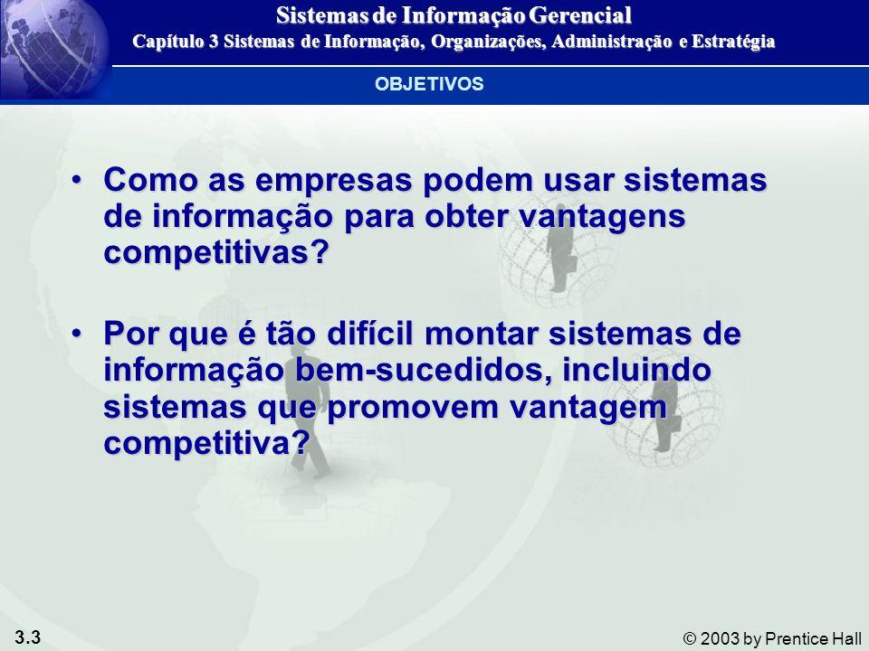 3.3 © 2003 by Prentice Hall Como as empresas podem usar sistemas de informação para obter vantagens competitivas?Como as empresas podem usar sistemas