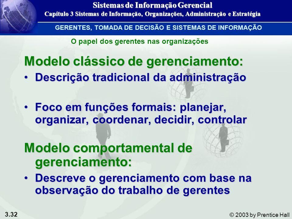 3.32 © 2003 by Prentice Hall Modelo clássico de gerenciamento: Descrição tradicional da administraçãoDescrição tradicional da administração Foco em fu