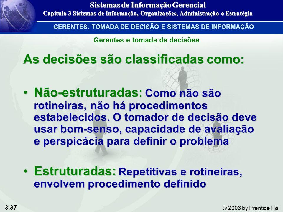 3.37 © 2003 by Prentice Hall As decisões são classificadas como: Não-estruturadas: Como não são rotineiras, não há procedimentos estabelecidos. O toma