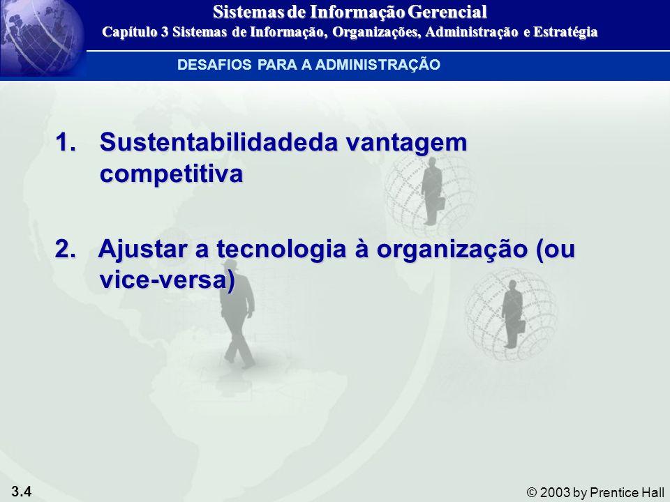3.4 © 2003 by Prentice Hall 1.Sustentabilidadeda vantagem competitiva 2. Ajustar a tecnologia à organização (ou vice-versa) DESAFIOS PARA A ADMINISTRA