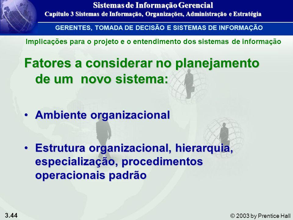 3.44 © 2003 by Prentice Hall Fatores a considerar no planejamento de um novo sistema: Ambiente organizacionalAmbiente organizacional Estrutura organiz