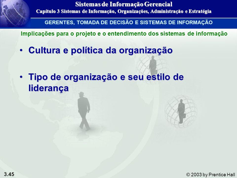3.45 © 2003 by Prentice Hall Cultura e política da organizaçãoCultura e política da organização Tipo de organização e seu estilo de liderançaTipo de o