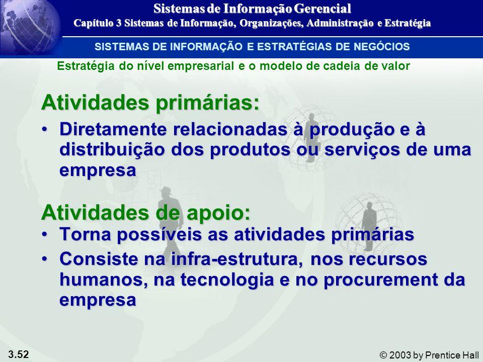 3.52 © 2003 by Prentice Hall Atividades primárias: Diretamente relacionadas à produção e à distribuição dos produtos ou serviços de uma empresaDiretam
