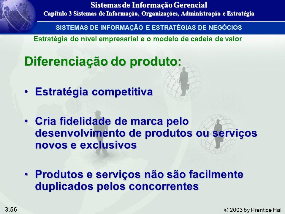 3.56 © 2003 by Prentice Hall Diferenciação do produto: Estratégia competitivaEstratégia competitiva Cria fidelidade de marca pelo desenvolvimento de p