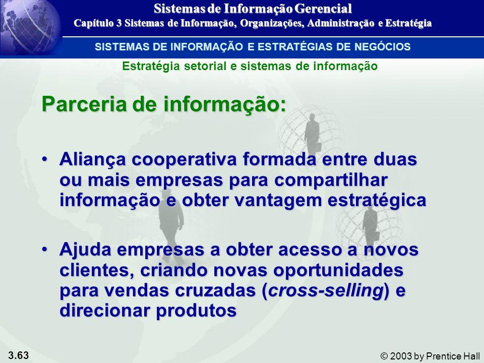 3.63 © 2003 by Prentice Hall Parceria de informação: Aliança cooperativa formada entre duas ou mais empresas para compartilhar informação e obter vant