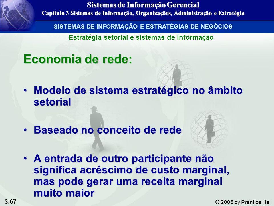3.67 © 2003 by Prentice Hall Economia de rede: Modelo de sistema estratégico no âmbito setorialModelo de sistema estratégico no âmbito setorial Basead
