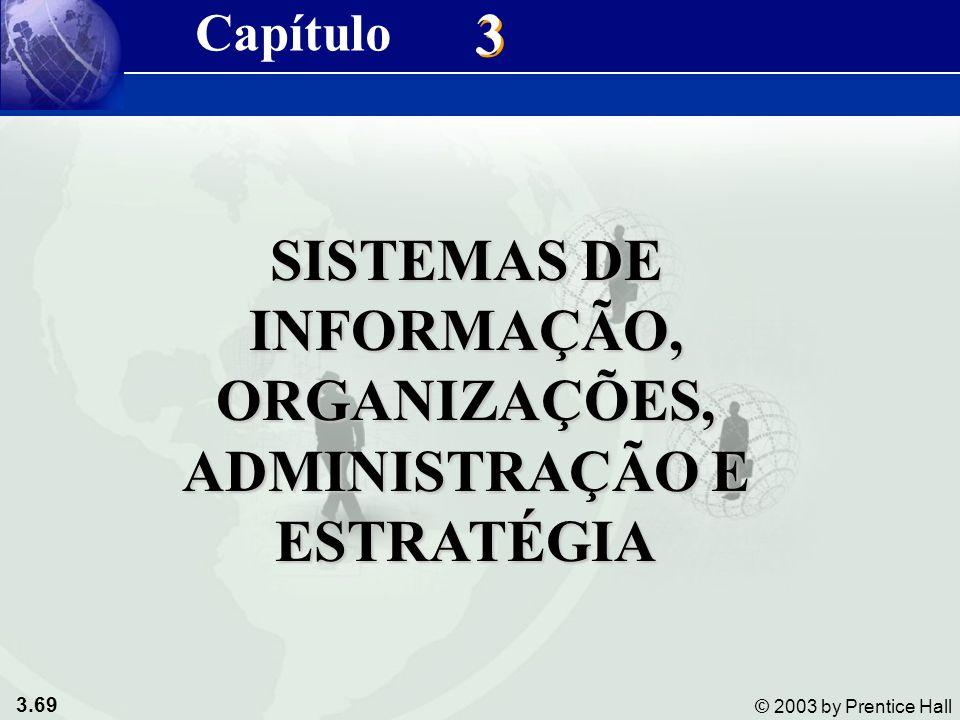 3.69 © 2003 by Prentice Hall 3 3 SISTEMAS DE INFORMAÇÃO, ORGANIZAÇÕES, ADMINISTRAÇÃO E ESTRATÉGIA Capítulo