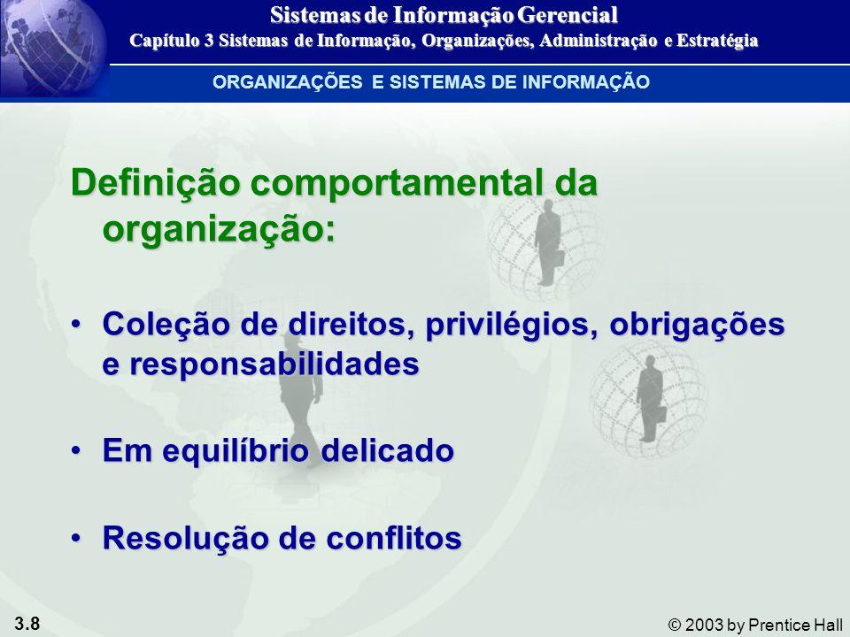 3.9 © 2003 by Prentice Hall CARACTERÍSTICAS COMUNS ÀS ORGANIZAÇÕES Visão comportamental das organizações Figura 3-3 Sistemas de Informação Gerencial Capítulo 3 Sistemas de Informação, Organizações, Administração e Estratégia