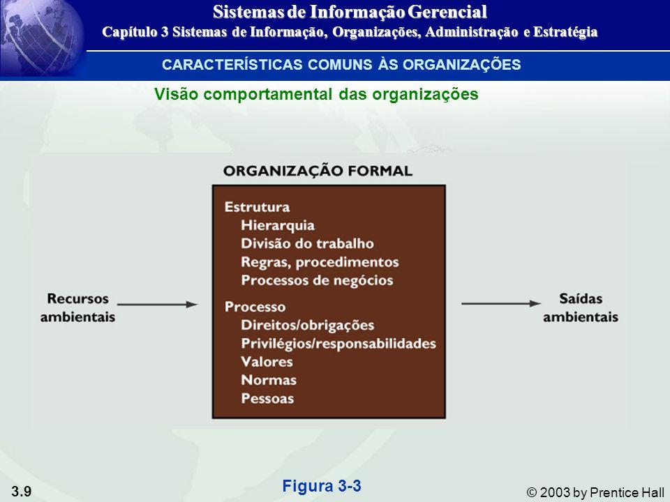 3.9 © 2003 by Prentice Hall CARACTERÍSTICAS COMUNS ÀS ORGANIZAÇÕES Visão comportamental das organizações Figura 3-3 Sistemas de Informação Gerencial C
