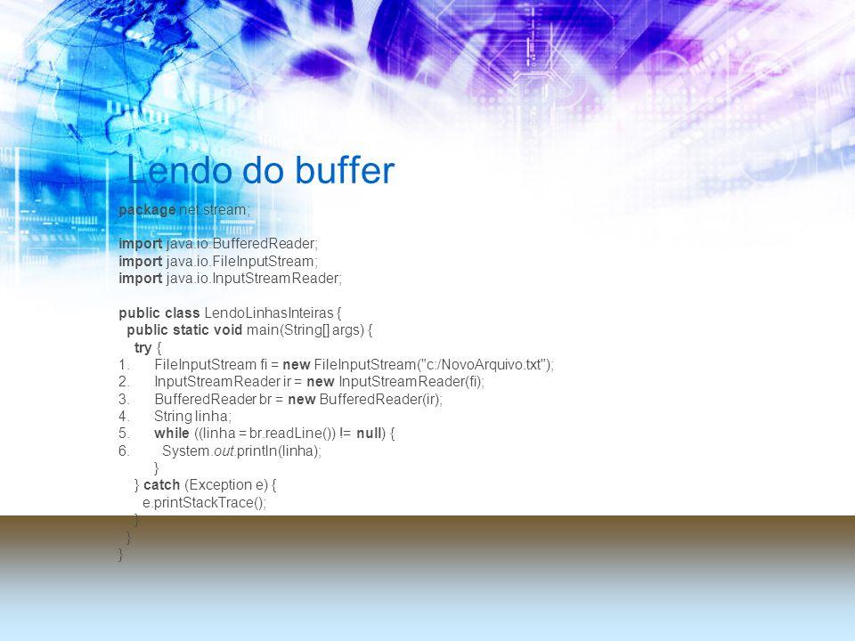 Lendo do buffer package net.stream; import java.io.BufferedReader; import java.io.FileInputStream; import java.io.InputStreamReader; public class Lend