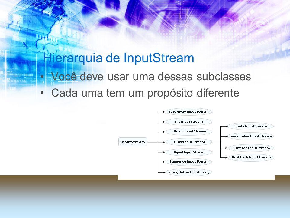 Hierarquia de InputStream Você deve usar uma dessas subclasses Cada uma tem um propósito diferente