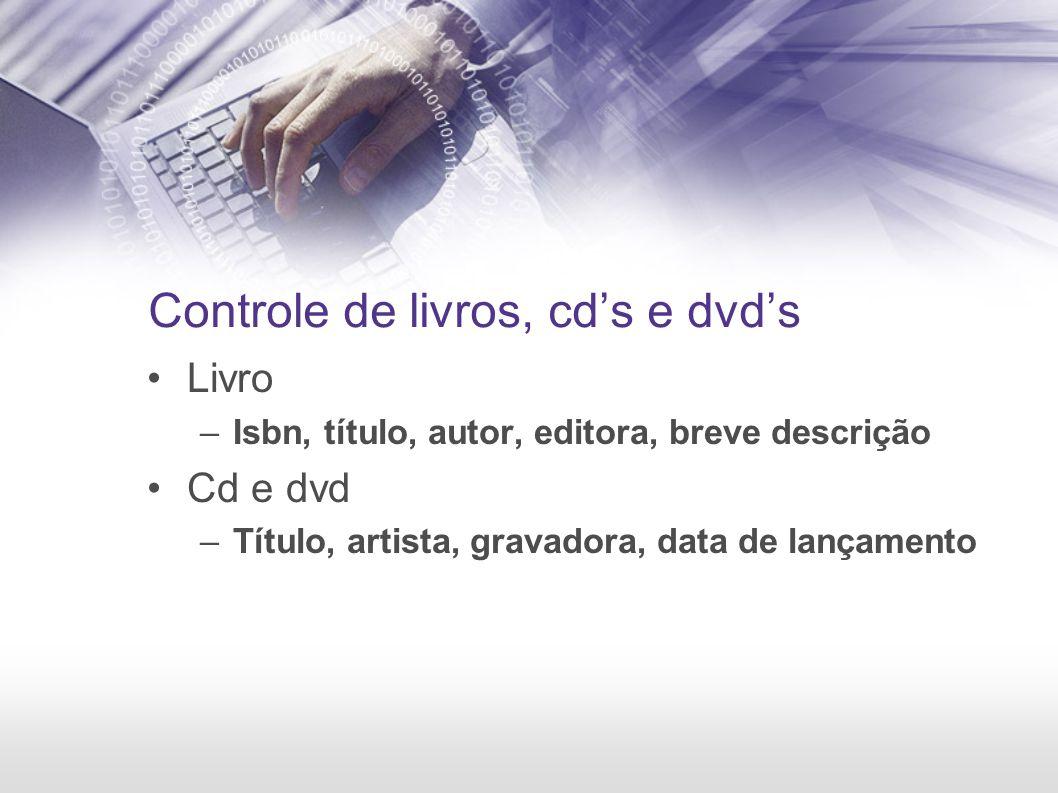 Controle de livros, cds e dvds Livro –Isbn, título, autor, editora, breve descrição Cd e dvd –Título, artista, gravadora, data de lançamento