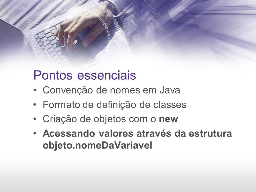 Pontos essenciais Convenção de nomes em Java Formato de definição de classes Criação de objetos com o new Acessando valores através da estrutura objeto.nomeDaVariavel