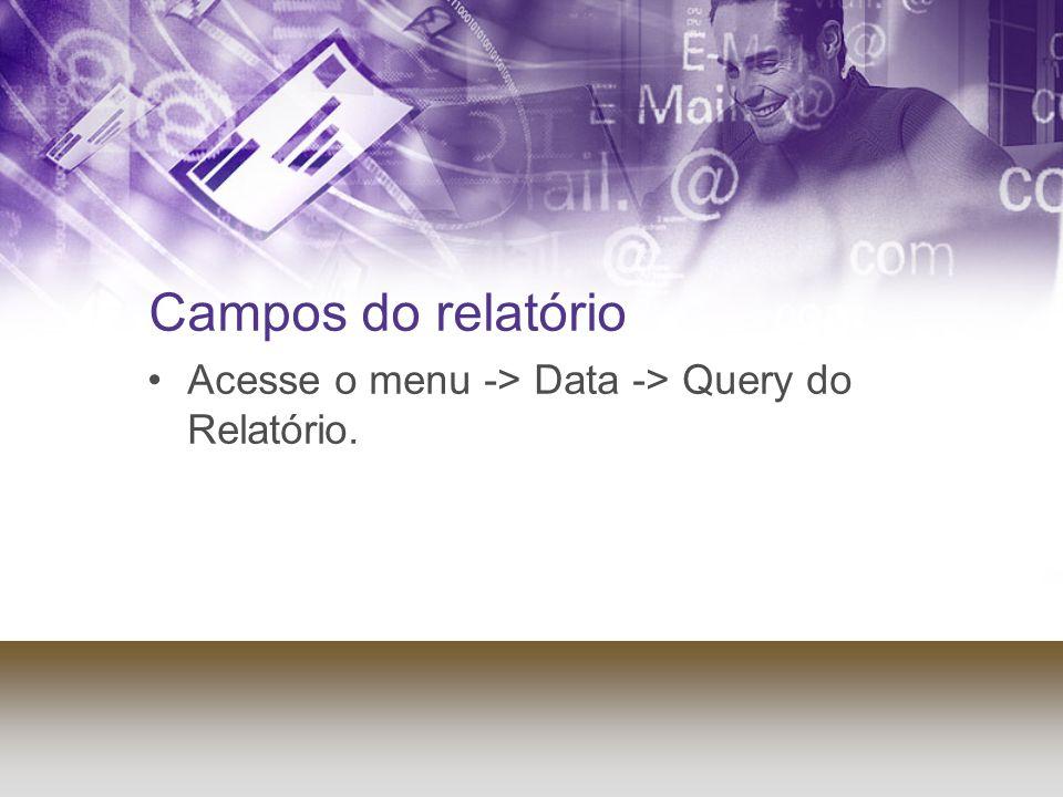 Campos do relatório Acesse o menu -> Data -> Query do Relatório.
