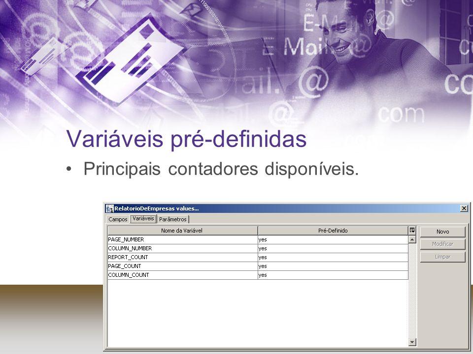 Variáveis pré-definidas Principais contadores disponíveis.