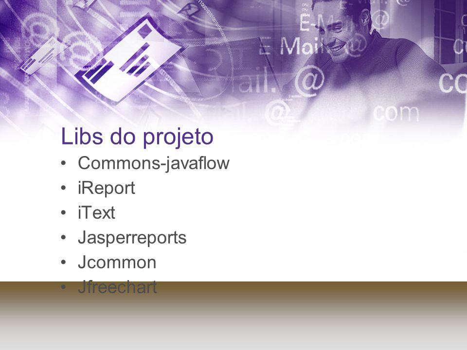 Libs do projeto Commons-javaflow iReport iText Jasperreports Jcommon Jfreechart
