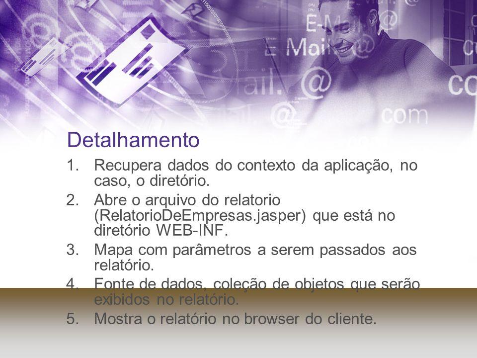 Detalhamento 1.Recupera dados do contexto da aplicação, no caso, o diretório. 2.Abre o arquivo do relatorio (RelatorioDeEmpresas.jasper) que está no d