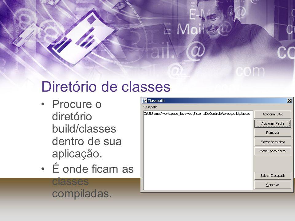 Diretório de classes Procure o diretório build/classes dentro de sua aplicação. É onde ficam as classes compiladas.