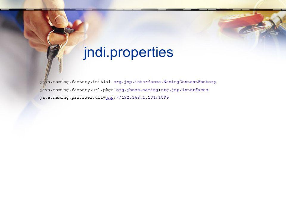 jndi.properties java.naming.factory.initial=org.jnp.interfaces.NamingContextFactory java.naming.factory.url.pkgs=org.jboss.naming:org.jnp.interfaces j