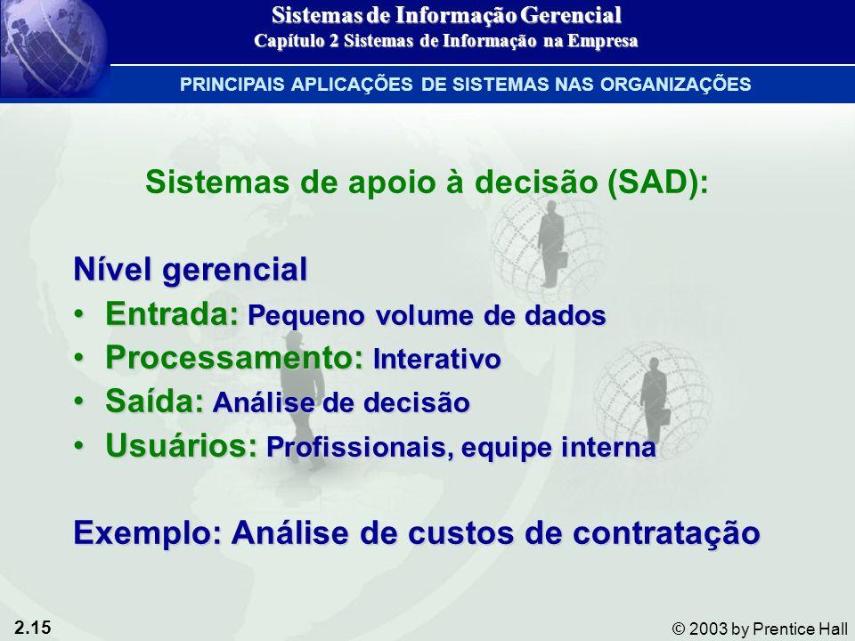 2.15 © 2003 by Prentice Hall Sistemas de apoio à decisão (SAD): Nível gerencial Entrada: Pequeno volume de dadosEntrada: Pequeno volume de dados Proce