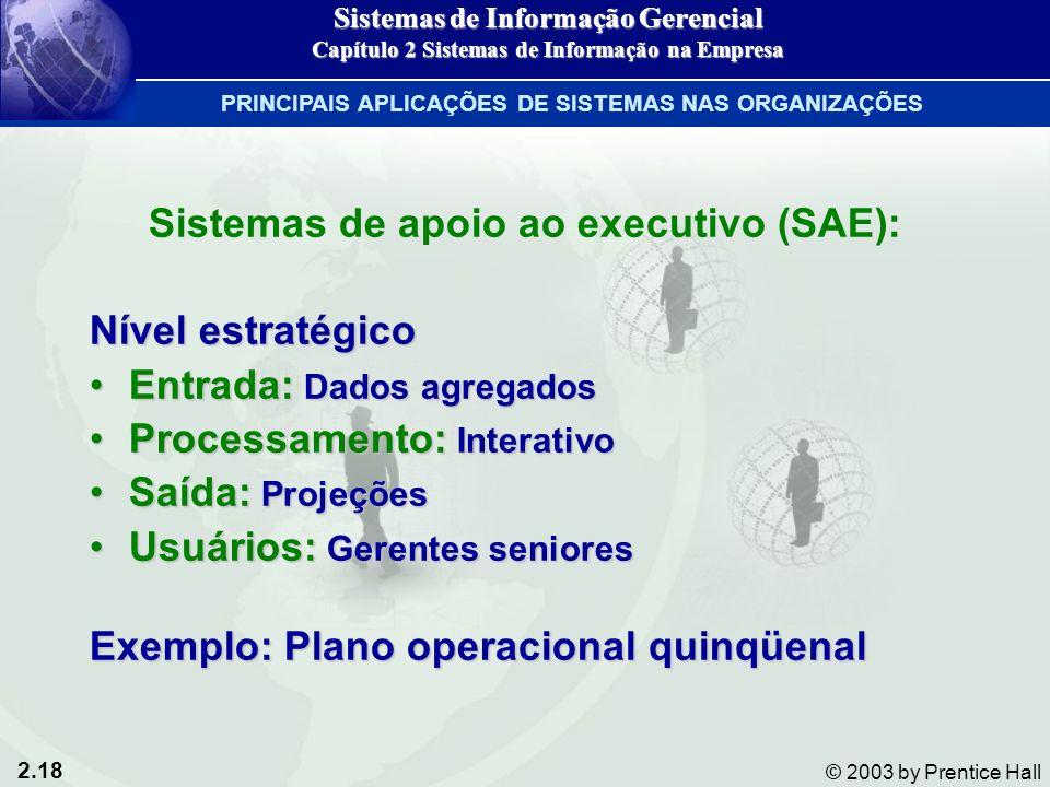 2.18 © 2003 by Prentice Hall Sistemas de apoio ao executivo (SAE): Nível estratégico Entrada: Dados agregadosEntrada: Dados agregados Processamento: I