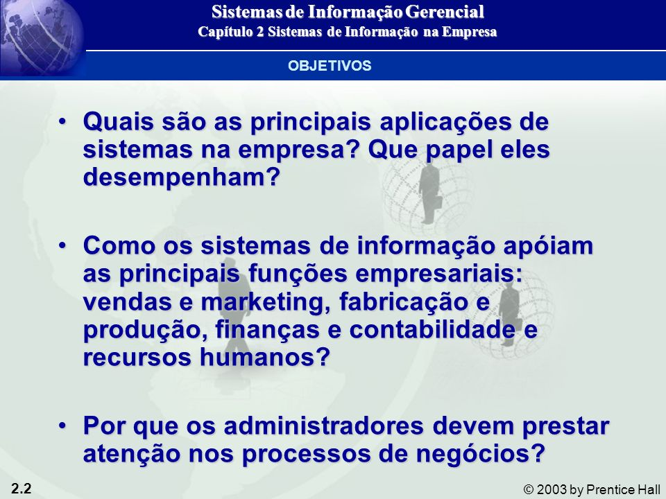2.2 © 2003 by Prentice Hall Quais são as principais aplicações de sistemas na empresa.