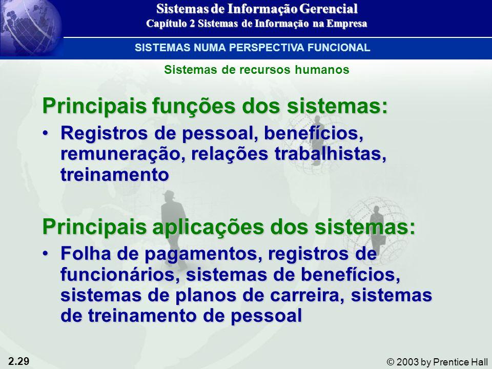 2.29 © 2003 by Prentice Hall Principais funções dos sistemas: Registros de pessoal, benefícios, remuneração, relações trabalhistas, treinamentoRegistr